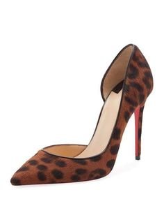 e43ee10befc7 Christian Louboutin Iriza Leopard-Print Half-dOrsay Red Sole Pump. Brown  Leopard