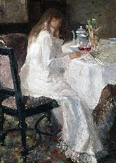 Jan Toorop's Lady in white (1886) of his wife Annie Hall