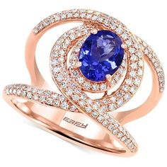Final Call by Effy Tanzanite (1-1/8 ct. t.w.) & Diamond (5/8 ct. t.w.)... (14.660 BRL) ❤ liked on Polyvore featuring jewelry, rings, rose gld, round diamond ring, rose gold ring, cocktail rings, rose gold diamond ring and tanzanite diamond ring