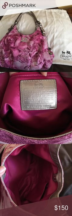 Gently Used Coach Purse Beautiful and colorful gently used Coach purse. The inside three compartments are meticulous and perfectly lined in a beautiful and vibrant fuchsia colored satin. All zippers and magnet button closures in perfect condition. Normal wear pictured in the outside of the purse. No tears or holes in material. Reasonable offers welcome! Thank you for stopping by! Coach Bags Satchels