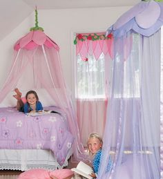 love to put something like this in Lilyu0027s room with a big papasan cushion on. Girls Bed CanopiesGirls ...  sc 1 st  Pinterest & no sew DIY: Little Girls Bed Canopy with Lights I know a Special ...