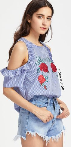 Frill Open Shoulder Rose Embroidered Striped Top