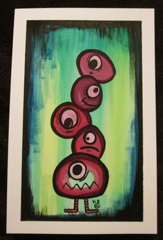 Pile Of Faces Original Mixed Media Painting by by artbyhecdesigns, $20.00