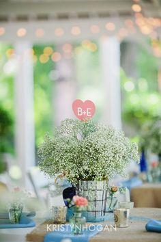 Very simple, yet very sweet centerpiece. Photo by Kristyn Hogan #cedarwoodweddings