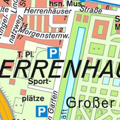 Herrenhäuser Gärten Verwaltung | Herrenhausen | Landeshauptstadt Hannover | Organisationsdatenbank | 02 GIS Objekte | Media - www.hannover.de/Herrenhausen