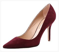 HooH Women's Flannel Pointed Toe Stiletto Pumps 012-wine red-37 (*Partner Link)