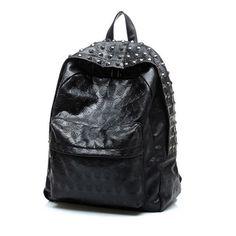 (45.00$)  Watch here  - The new backpack man And Women skull black rivet bag boom recreational backpack female