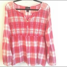 Lane Bryant Coral Plaid Babydoll Fits 20 used but excellent condition, tag says 22/24 but fits like a 20. 100% cotton with no stretch other than smocked busy. Empire elastic waist and elastic at wrists. Lane Bryant Tops Blouses
