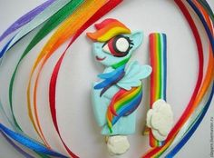 Ярмарка Мастеров: Комплект заколок с пони Радуга Дэш (Rainbow Dash) из My little Pony.