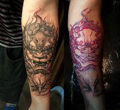 Forearm Foo Dog tattoo - Chronic Ink