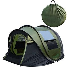 Peaktop Instant Tent 4 Person Automatic Pop up Camping Tent, Waterproof Lightweight Dome Tent - with Vents, Mesh Doors and Windows - for Camping,Hiking, Backpack and Beach Green Pop Up Camping Tent, Pop Up Tent, Camping Lights, Diy Camping, Camping With Kids, Camping Hacks, Camping Gear, Outdoor Camping, Outdoor Gear