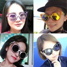 Colorful festival cat eye mirror round lens sunglasses