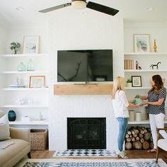 SnapWidget | Simple shelf styling in the #modernfarmhouseproject den. Photo by @lindseyorton