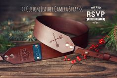 Custom Leather Camera Strap, Handmade personalized gift, Brown stain, Crossed arrows, hand stitched, arrow, Custom name, initials by RSVPhandcrafted on Etsy https://www.etsy.com/listing/172098088/custom-leather-camera-strap-handmade