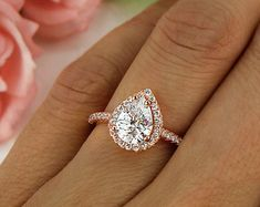 1.5 ctw Classic Pear Engagement Ring, Man Made Diamond Simulants, Halo Wedding Ring, Promise Ring, Sterling Silver, Rose Gold Plated