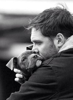 Tom Hardy  What's cuter, the puppy or tom? Hard choice