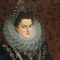 1598 Isabel Clara Eugenia (detail) by Juan Pantoja de la Cruz.