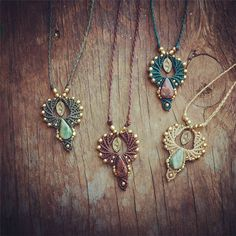 The necklace is entirely handmade  using different macrame methods combined with brass beads and natural stones.The string i use are strong wax strings that maintain their original shape for years. Wax string are ideal for creating jewelry because it is waterproof and feels very