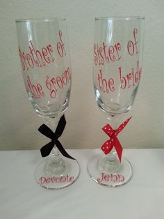 Shop for on Etsy, the place to express your creativity through the buying and selling of handmade and vintage goods. Monogrammed Glasses, Bride Sister, Party Favors, Wine Glass, Brother, Groom, Weddings, Unique Jewelry, Handmade Gifts