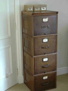 old wooden file cabinet