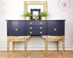 Sold Sold can be sourced. Gold Painted Furniture, Refurbished Furniture, Paint Furniture, Repurposed Furniture, Retro Furniture Makeover, Upscale Furniture, Blue Furniture, Painted Sideboard, Vintage Sideboard