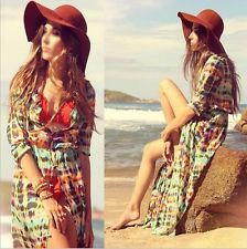 Women's Boho Vintage Chiffon Long Sleeve Gypsy Hippie Maxi Cardigan Shirt Dress