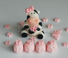 Friesian cow cake topper set birthday christening | Flickr - Photo Sharing!