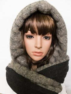 Hooded scarf beige grey hooded cowl unique gift for by Jousilook
