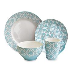 This Quatre 16-piece dinnerware set from the American Atelier collection employs an artistically beautiful pattern in elegant detail that serves as the perfect accent for any of your formal or casual dining occasions and celebrations.