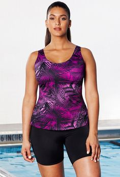 69fab2bfef2d4 Aquabelle Chlorine Resistant Berry Palm Sport Bike Plus Size Shortini