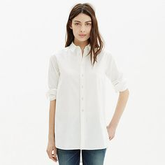 An oversized tunic shirt with buttons along the side seams for fun styling changeups. Weighty and substantial with a long shirttail hem, this is one to wear and wear and wear. Please note: This shirt has tonal stitching that is a shade darker than the way it appears in the photos.  <ul><li>Slightly oversized fit.</li><li>Cotton.</li><li>Machine wash.</li><li>Import.</li></ul>