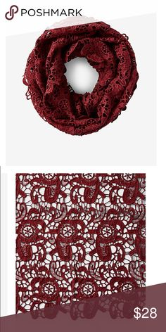 NET Express crochet infinity burgundy scarf 💟 new with tags express crochet scarf. Got but have no use for it and its past my return date. Express Accessories Scarves & Wraps