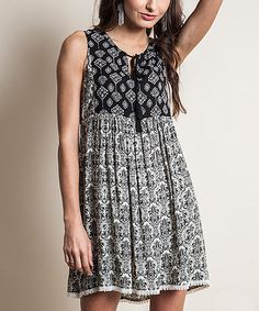 Loving this Black Geometric Tie-Front Tunic on #zulily! #zulilyfinds