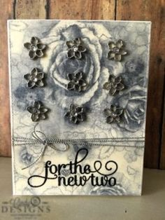 Wedding card using Stampin' Up! For the New Two. #cindybdesigns #weddingcard #wedding #stampinup #suo #forthenewtwo #stamping #cards #flowers #roses #handmade #papercrafts #papercrafting