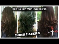How I cut layers in my hair . at home - All haircut at home short Cut Own Hair, Cut Hair At Home, How To Cut Your Own Hair, How To Layer Hair, Hair Cut Diy, Medium Layered Hair, Long Layered Haircuts, Layered Hairstyles, Easy Hair Cuts
