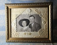 Country Chic Picture Frame Mat with Lace and Tatting, Mother of Pearl Buttons, Wedding Collage,
