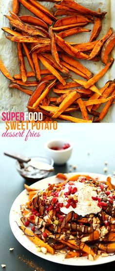 SUPERFOOD Sweet Potato Dessert Fries! Simple ingredients, nutritionally dense and SO delicious! #vegan #glutenfree #chocolate