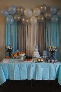Baby Shower or bday: Balloons & Streamers Backdrop! Saving all the pink and purp… Baby Shower or bday: Balloons & Streamers Backdrop! Saving all the pink and purple ballons from my sons bday for this Party Kulissen, Baby Party, Shower Party, Baby Shower Parties, Baby Shower Themes, Bridal Shower, Ideas Party, Fun Ideas, Baby Shower Ideas For Boys Decorations