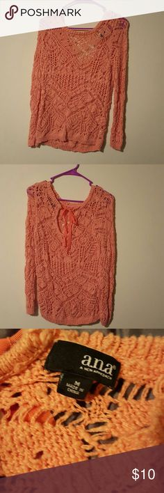 A.N.A. Crochet Sweater A.n.a. peach crochet Sweater size medium. It's super cute just not my style. Ties in the back by your neck. Great condition. a.n.a Sweaters Shrugs & Ponchos