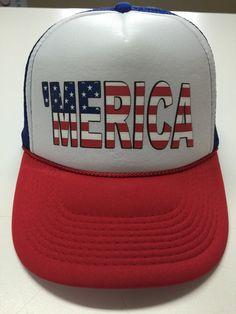 245cba110a3aa Merica Custom Trucker Hat Memorial Day by sunsetsigndesigns