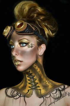 Steampunk Makeup Guide - Special FX gold body paint and face paint with gears and faux corset - For costume tutorials, clothing guide, fashion inspiration photo gallery, calendar of Steampunk events, & more, visit SteampunkFashionGuide.com #facepainttutorial