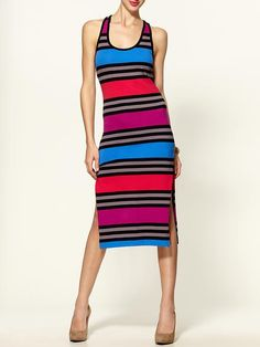 French Connection - Multi Jag Stripe Day Dress