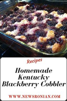 Homemade Kentucky Blackberry Cobbler - Page 2 of 2 - newsronian Blackberry Dessert Recipes, Fresh Fruit Desserts, Summer Dessert Recipes, Easy Desserts, Delicious Desserts, Yummy Food, Blackberry Dumplings, Easy Blackberry Cobbler, Blackberry Bread