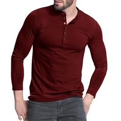 Men's Henley Shirt 2017 Popular Design Tee Tops Long Sleeve Stylish Slim Fit Plain T-shirt Button Placket Casual Men T-shirts