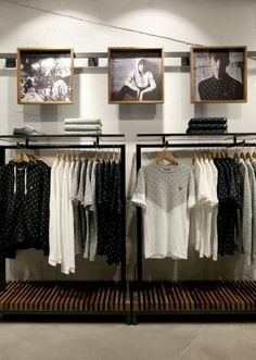 Visual merchandising are often regarded as a mixture of art and science, so it can be a complex duty. Here are a list of brainchild for Visual Merchandising and Boutique Displays. Clothing Store Interior, Clothing Store Displays, Clothing Store Design, Boutique Interior, Shop Interior Design, Boutique Displays, Mens Clothing Stores, Boutique Clothing, Men's Clothing