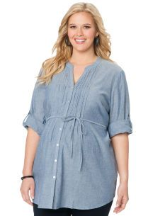 5adb1c13d7f Motherhood Maternity Plus Size Convertible Sleeve V-neck Button Front Maternity  Tunic Maternity Tunic