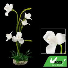 Fish Tank Plastic White Flower Green Leaf Plant Grass Ornament