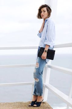 Tom-boy Chic! I love the mules paired with the boyfriend jeans.
