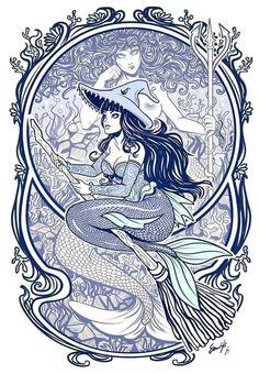 Mermaid witch by EdgarSandoval on DeviantArt Mermaid Tails, Mermaid Art, Mermaid Paintings, Vintage Mermaid, Sirens, Wicca, Mermaids And Mermen, Fantasy Mermaids, Real Mermaids