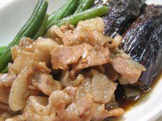豚バラ肉となすの旨煮の画像 Dip Recipes, Cooking Recipes, Food And Drink, Pork, Beef, Dishes, Chicken, Nasu, Food Ideas